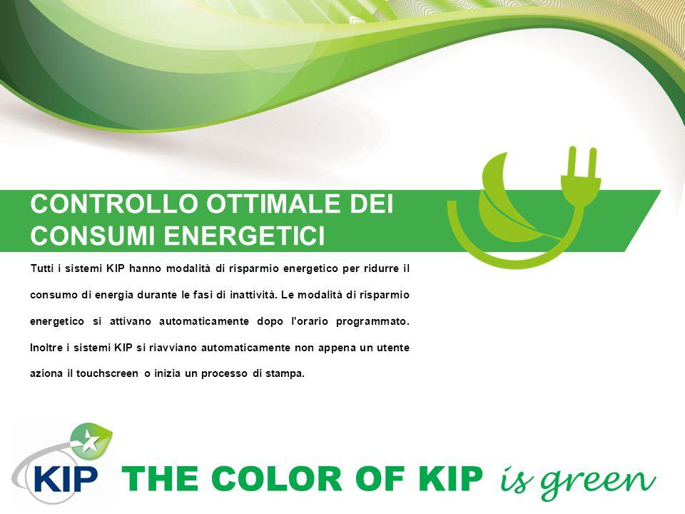 THE COLOR OF KIP is green CONTROLLO OTTIMALE DEI CONSUMI ENERGETICI Tutti i sistemi KIP hanno modalità di risparmio energetico per ridurre il consumo di energia durante le fasi di inattività.