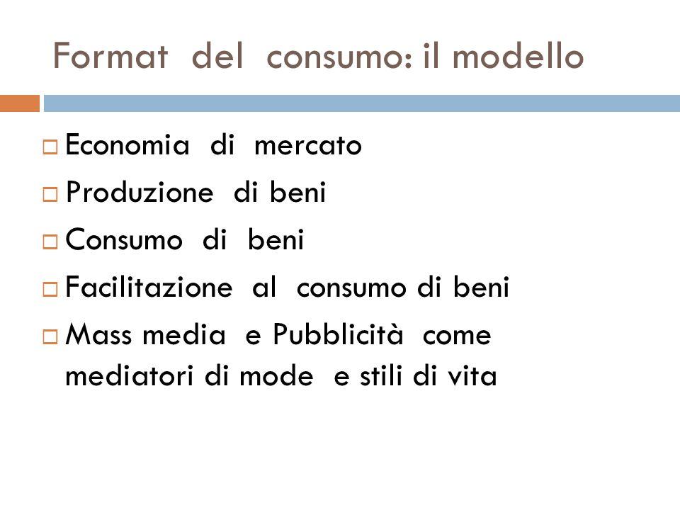 Format del consumo: il modello  Economia di mercato  Produzione di beni  Consumo di beni  Facilitazione al consumo di beni  Mass media e Pubblici