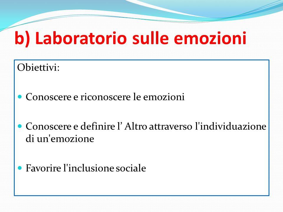 b) Laboratorio sulle emozioni Obiettivi: Conoscere e riconoscere le emozioni Conoscere e definire l' Altro attraverso l'individuazione di un'emozione