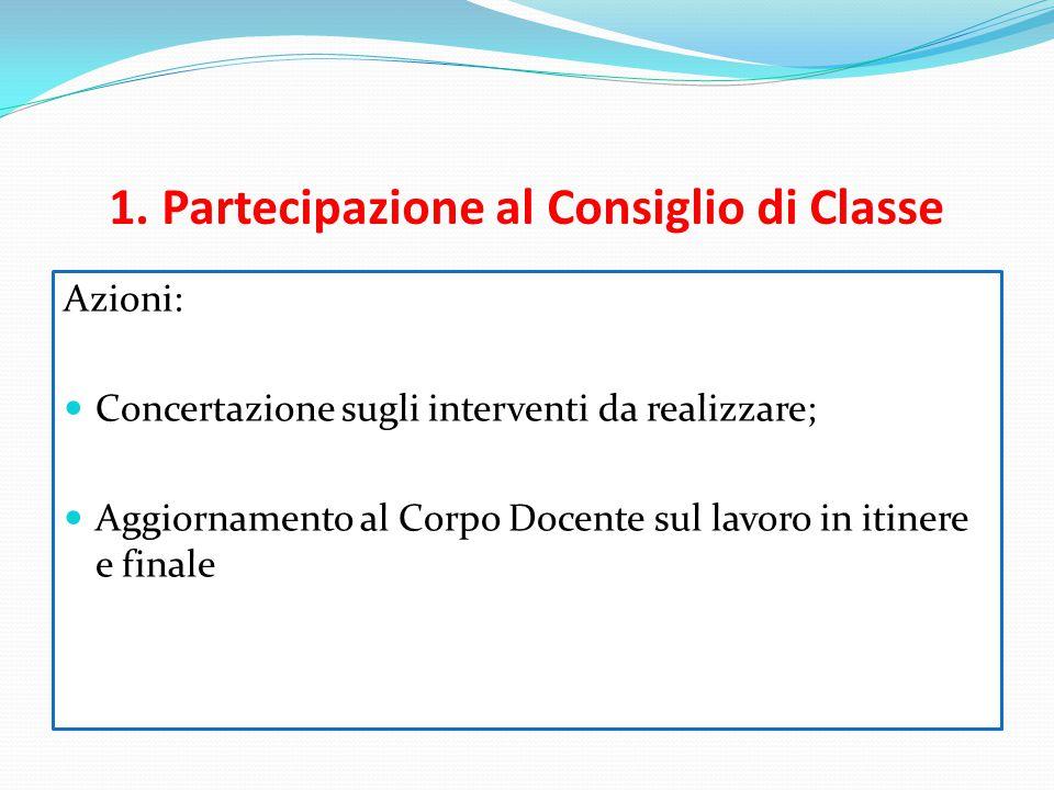 1. Partecipazione al Consiglio di Classe Azioni: Concertazione sugli interventi da realizzare; Aggiornamento al Corpo Docente sul lavoro in itinere e