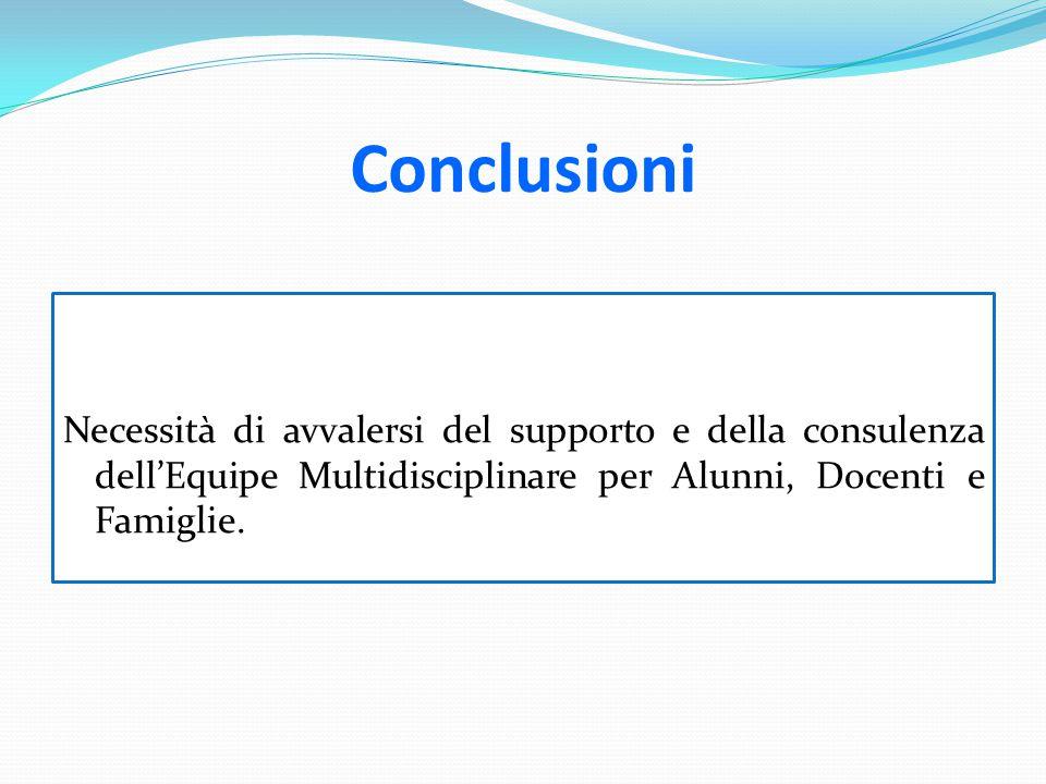 Conclusioni Necessità di avvalersi del supporto e della consulenza dell'Equipe Multidisciplinare per Alunni, Docenti e Famiglie.