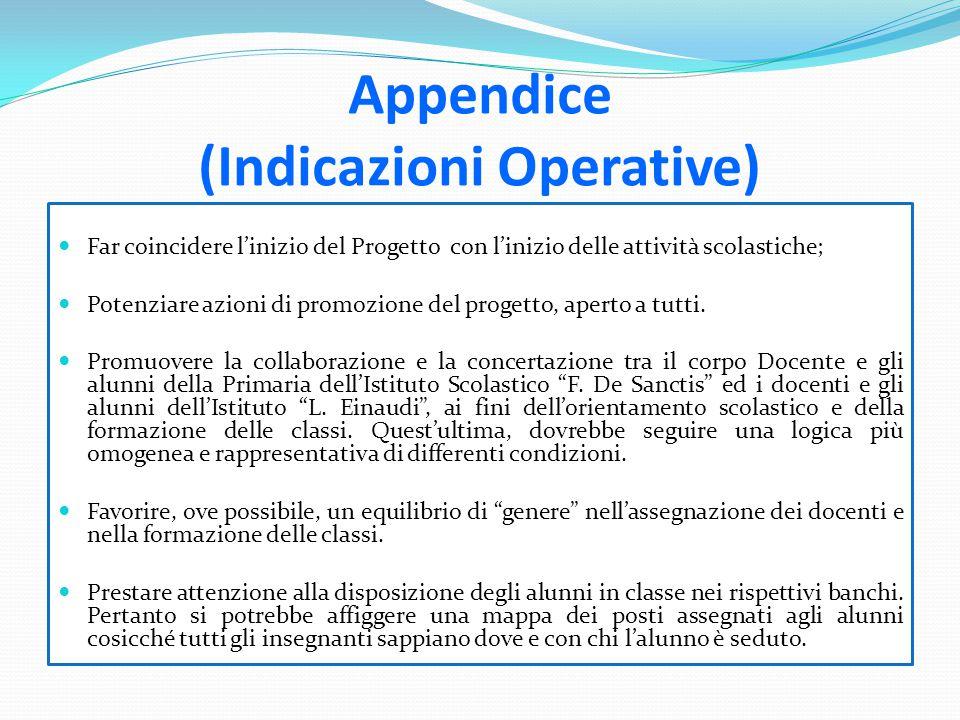 Appendice (Indicazioni Operative) Far coincidere l'inizio del Progetto con l'inizio delle attività scolastiche; Potenziare azioni di promozione del pr