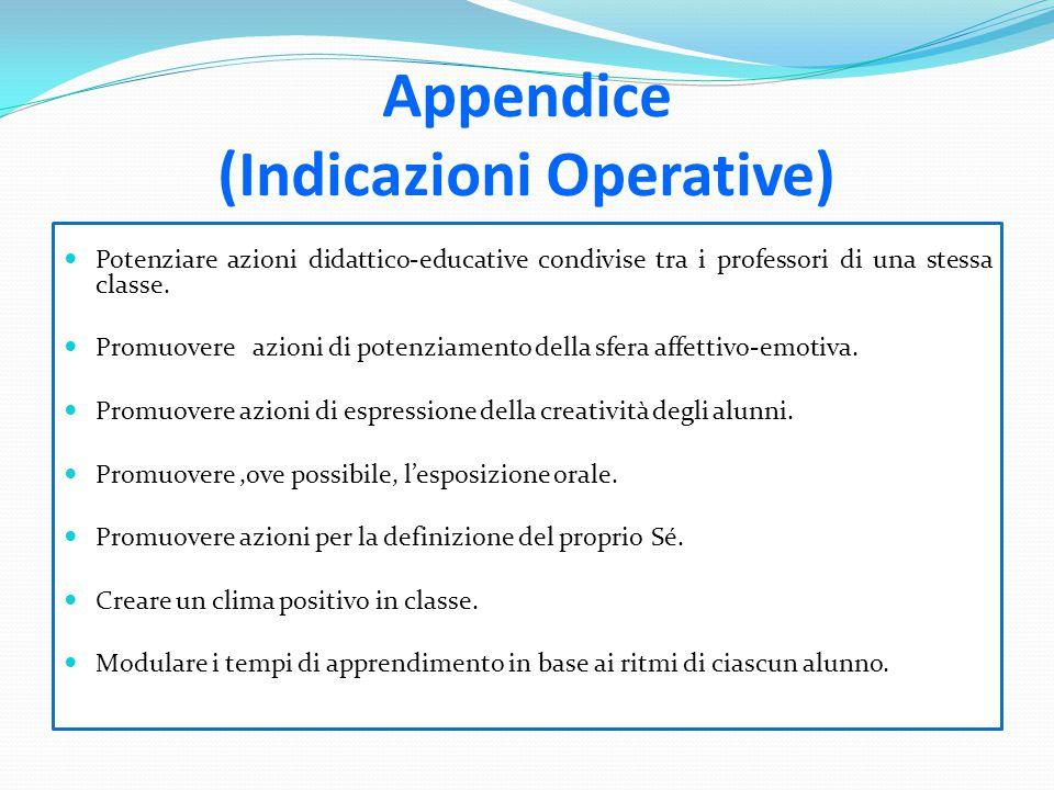 Appendice (Indicazioni Operative) Potenziare azioni didattico-educative condivise tra i professori di una stessa classe. Promuovere azioni di potenzia