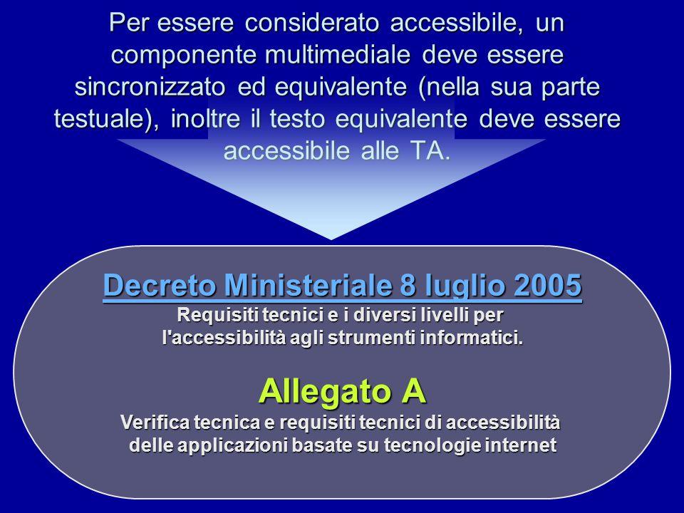 Per essere considerato accessibile, un componente multimediale deve essere sincronizzato ed equivalente (nella sua parte testuale), inoltre il testo equivalente deve essere accessibile alle TA.