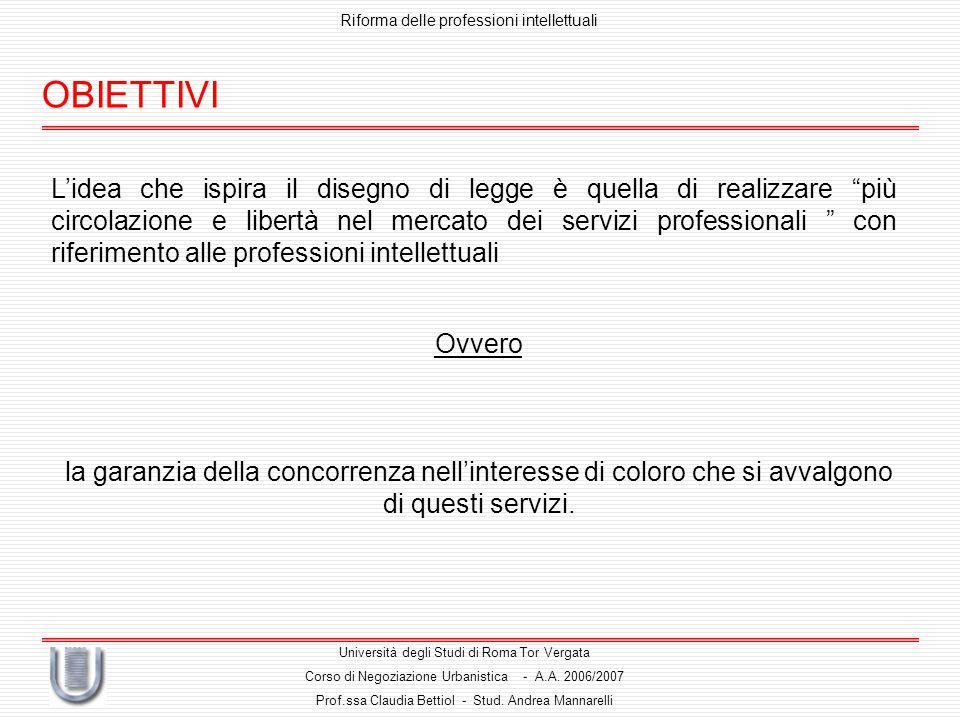 OBIETTIVI Riforma delle professioni intellettuali Università degli Studi di Roma Tor Vergata Corso di Negoziazione Urbanistica - A.A.