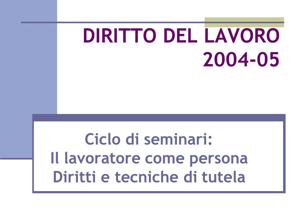 DIRITTO DEL LAVORO 2004-05 Ciclo di seminari: Il lavoratore come persona Diritti e tecniche di tutela