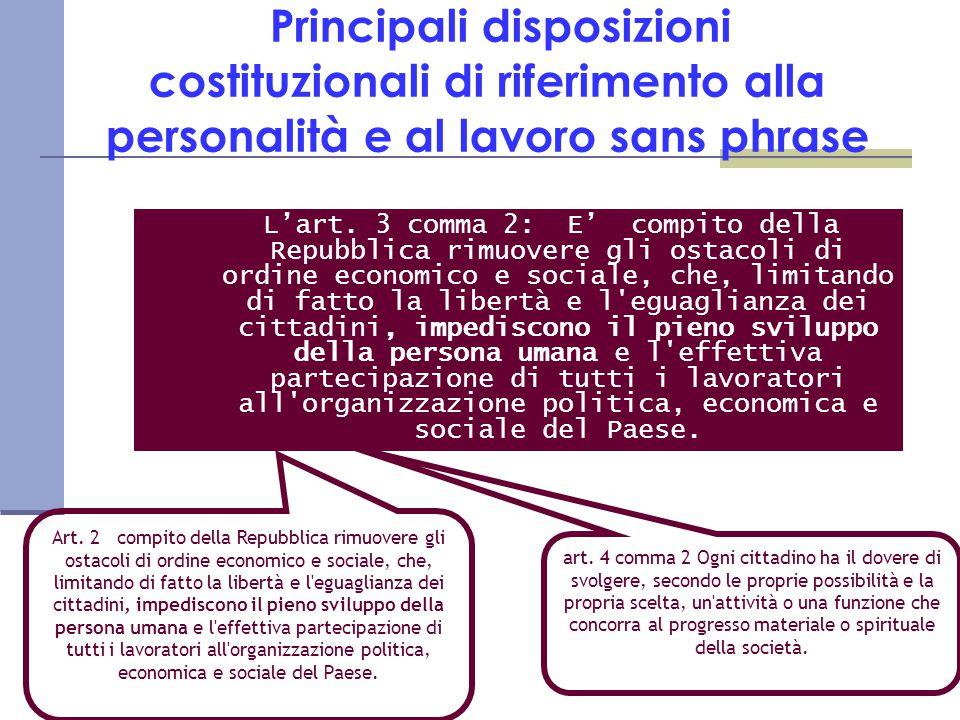 Principali disposizioni costituzionali di riferimento alla personalità e al lavoro sans phrase L'art.