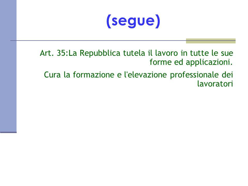 (segue) Art. 35:La Repubblica tutela il lavoro in tutte le sue forme ed applicazioni.