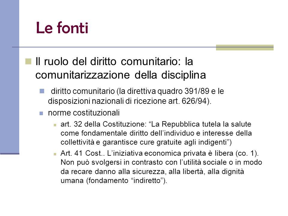Le fonti Il ruolo del diritto comunitario: la comunitarizzazione della disciplina diritto comunitario (la direttiva quadro 391/89 e le disposizioni nazionali di ricezione art.