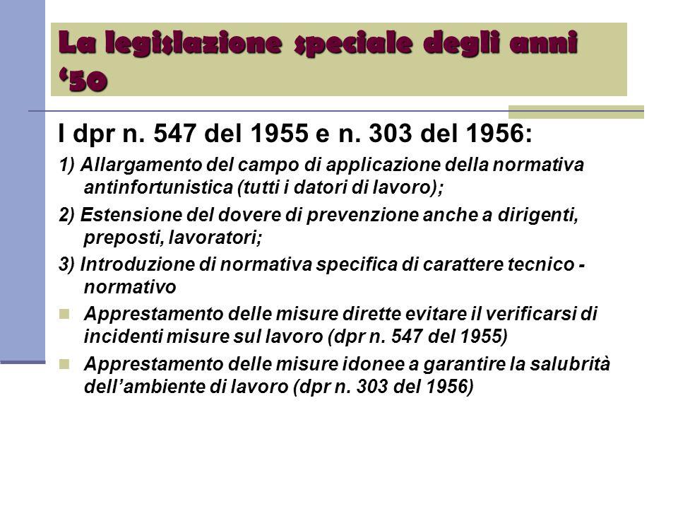 La legislazione speciale degli anni '50 I dpr n. 547 del 1955 e n.