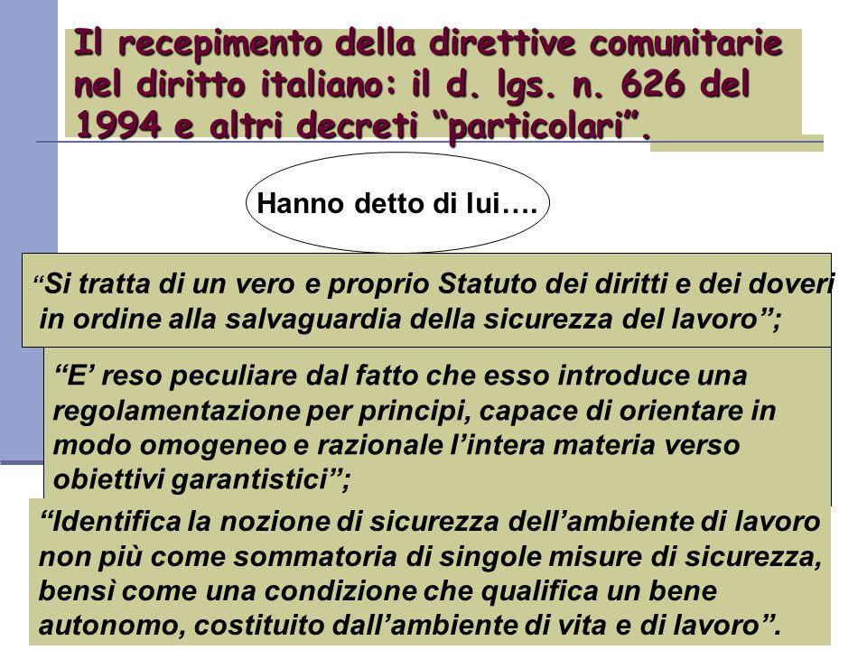Il recepimento della direttive comunitarie nel diritto italiano: il d.