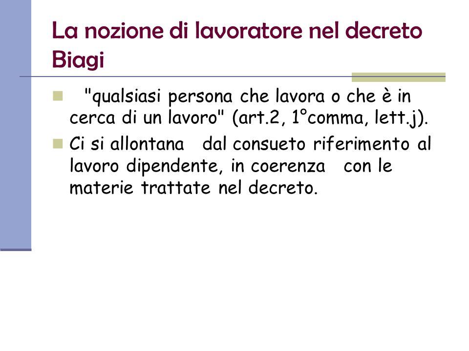 La nozione di lavoratore nel decreto Biagi qualsiasi persona che lavora o che è in cerca di un lavoro (art.2, 1°comma, lett.j).