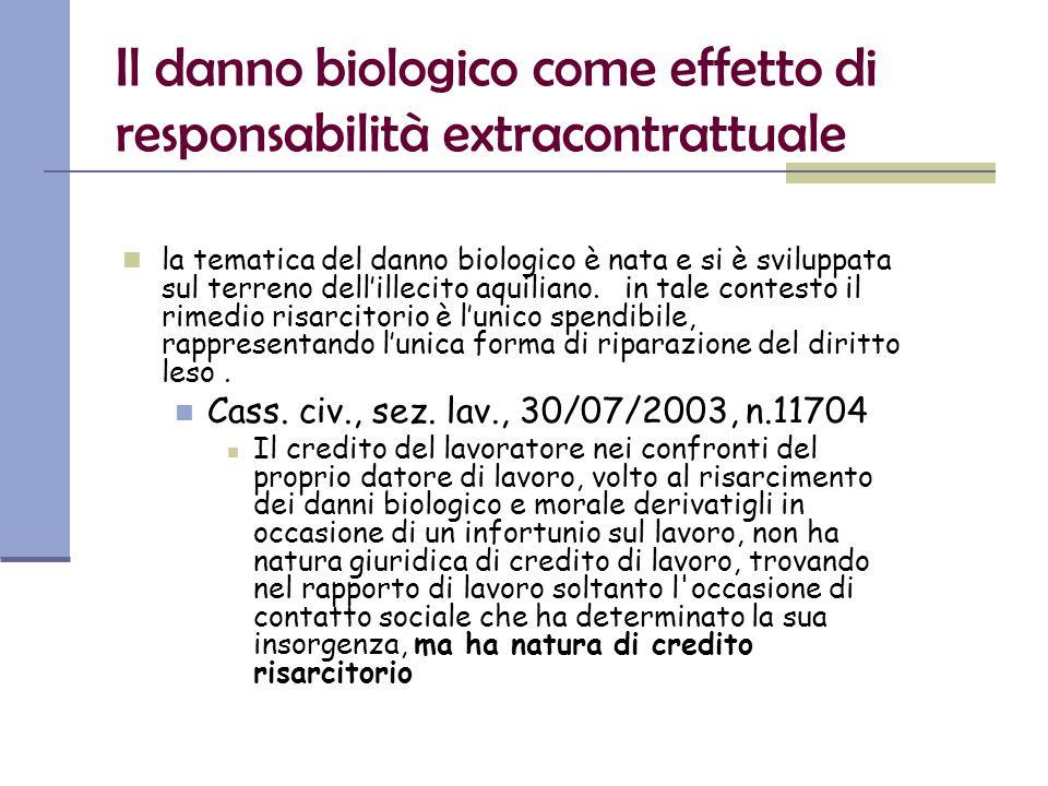 Il danno biologico come effetto di responsabilità extracontrattuale la tematica del danno biologico è nata e si è sviluppata sul terreno dell'illecito aquiliano.