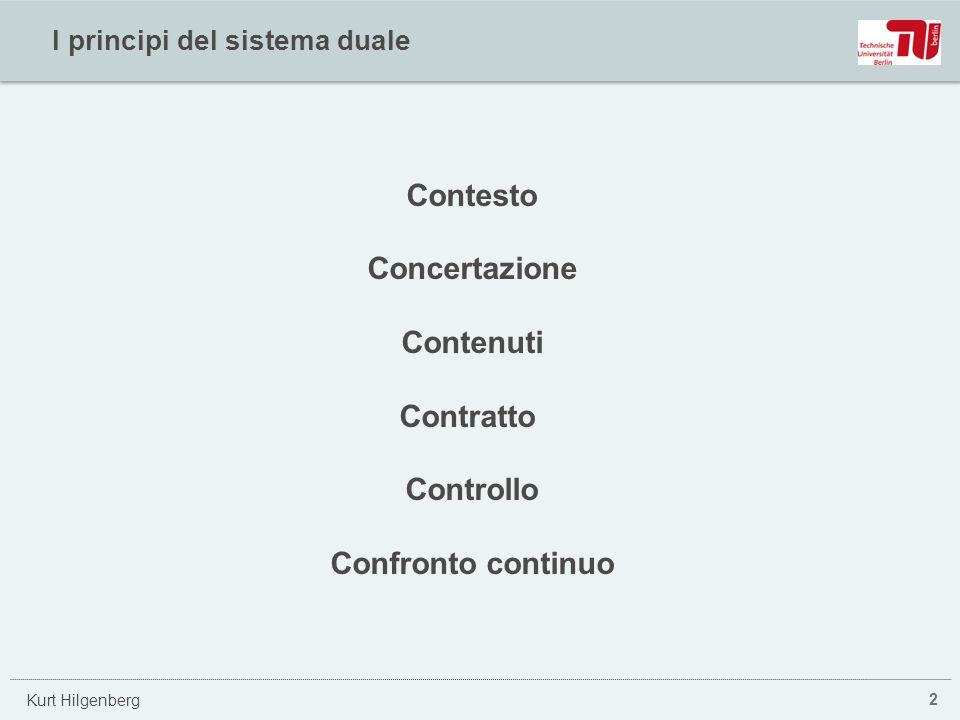 Kurt Hilgenberg I principi del sistema duale 2 Contesto Concertazione Contenuti Contratto Controllo Confronto continuo