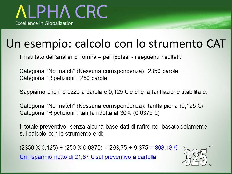 """Un esempio: calcolo con lo strumento CAT Il risultato dell'analisi ci fornirà – per ipotesi - i seguenti risultati: Categoria """"No match"""" (Nessuna corr"""