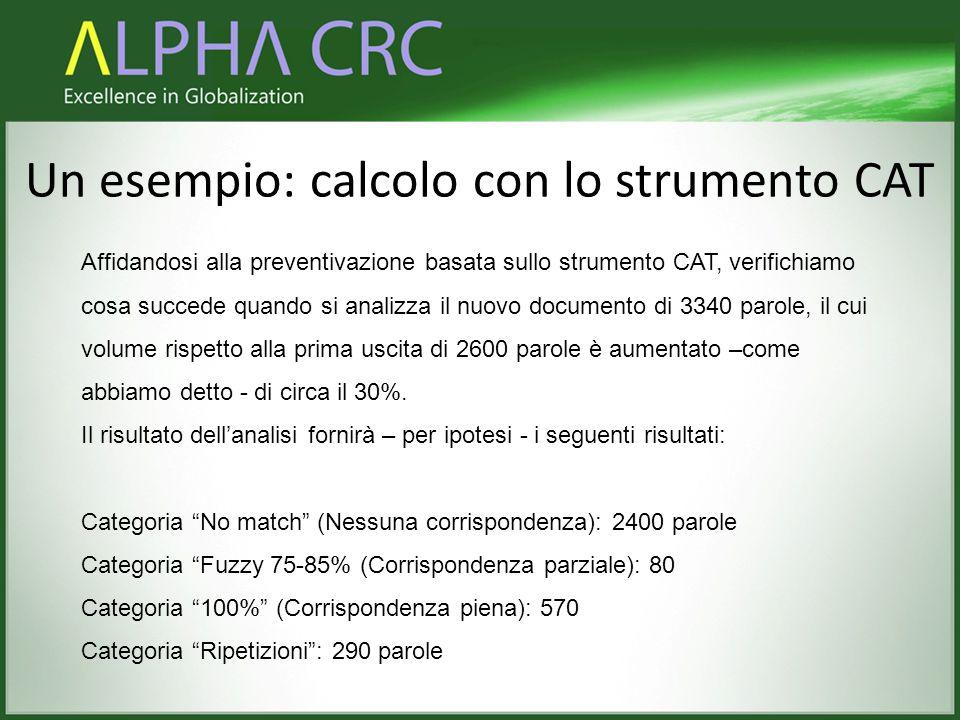Un esempio: calcolo con lo strumento CAT Affidandosi alla preventivazione basata sullo strumento CAT, verifichiamo cosa succede quando si analizza il