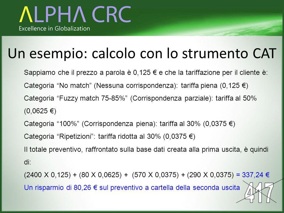 """Un esempio: calcolo con lo strumento CAT Sappiamo che il prezzo a parola è 0,125 € e che la tariffazione per il cliente è: Categoria """"No match"""" (Nessu"""