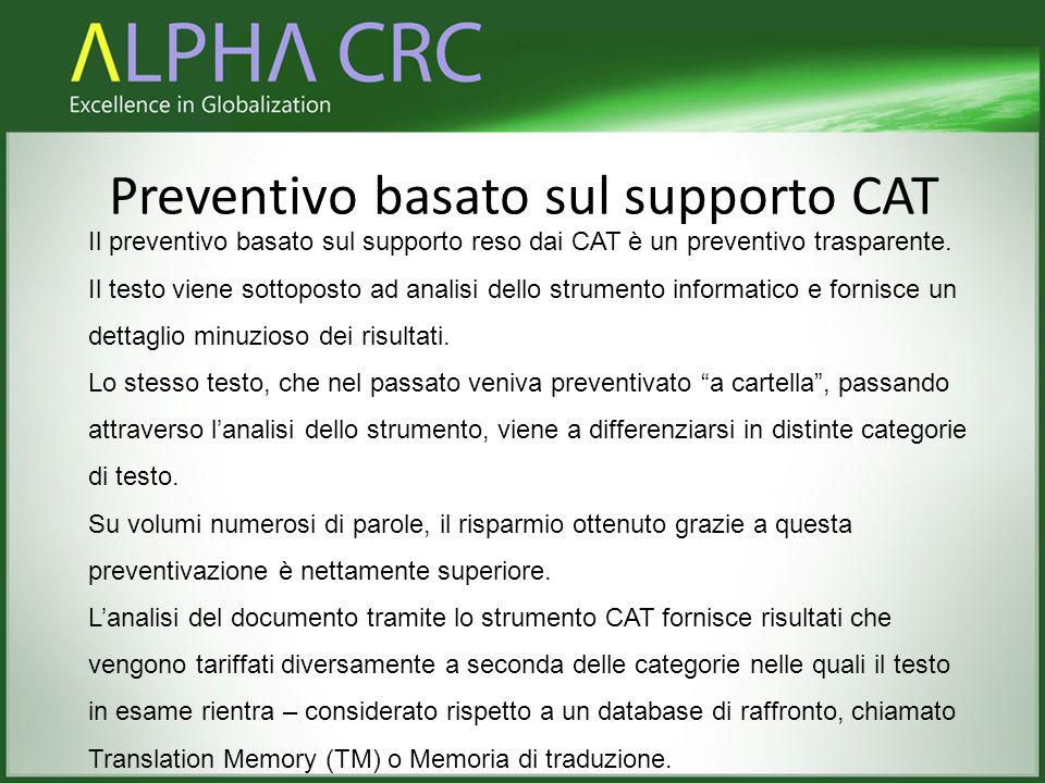Preventivo basato sul supporto CAT Il preventivo basato sul supporto reso dai CAT è un preventivo trasparente. Il testo viene sottoposto ad analisi de