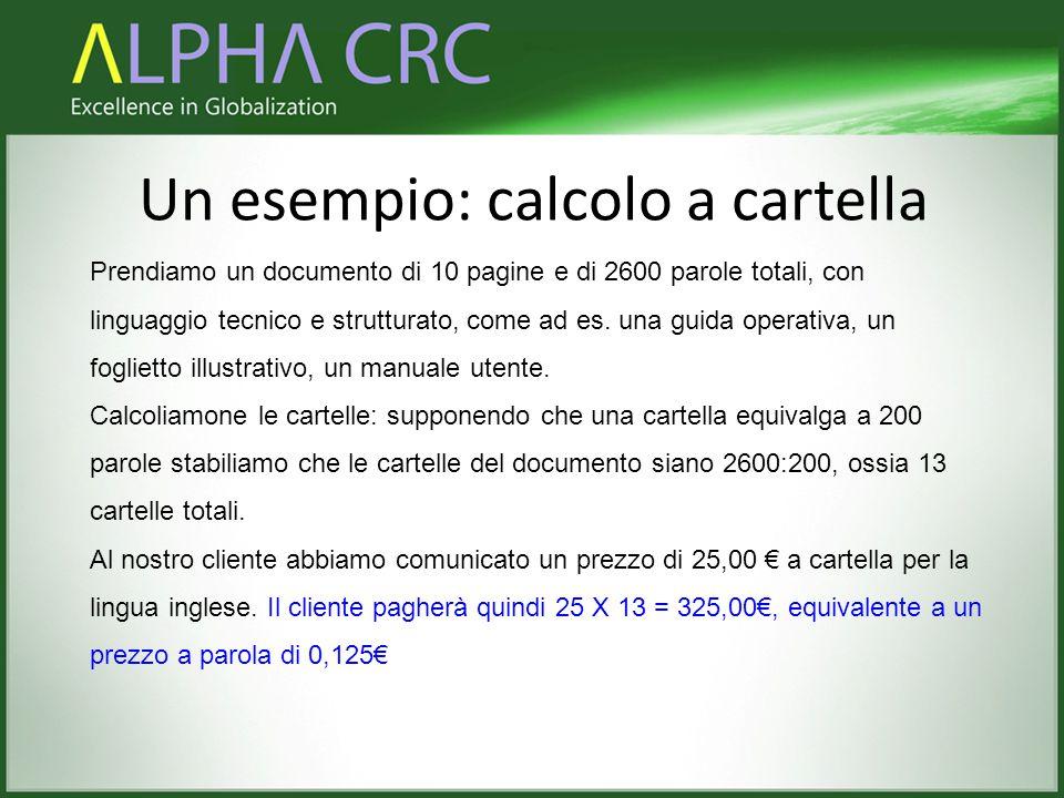 Un esempio: calcolo a cartella Prendiamo un documento di 10 pagine e di 2600 parole totali, con linguaggio tecnico e strutturato, come ad es. una guid