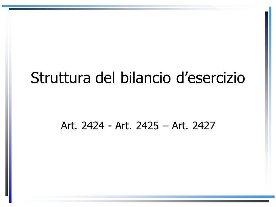 Struttura del bilancio d'esercizio Art. 2424 - Art. 2425 – Art. 2427