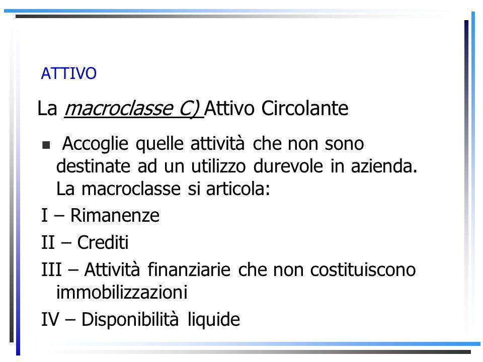 ATTIVO La macroclasse C) Attivo Circolante Accoglie quelle attività che non sono destinate ad un utilizzo durevole in azienda.