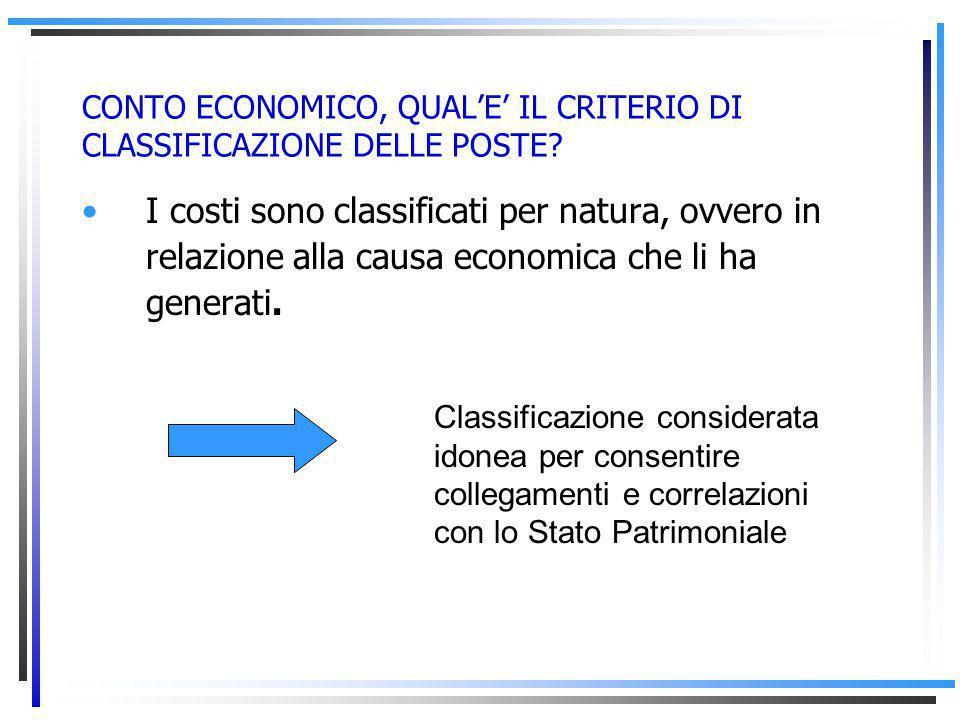 CONTO ECONOMICO, QUAL'E' IL CRITERIO DI CLASSIFICAZIONE DELLE POSTE.