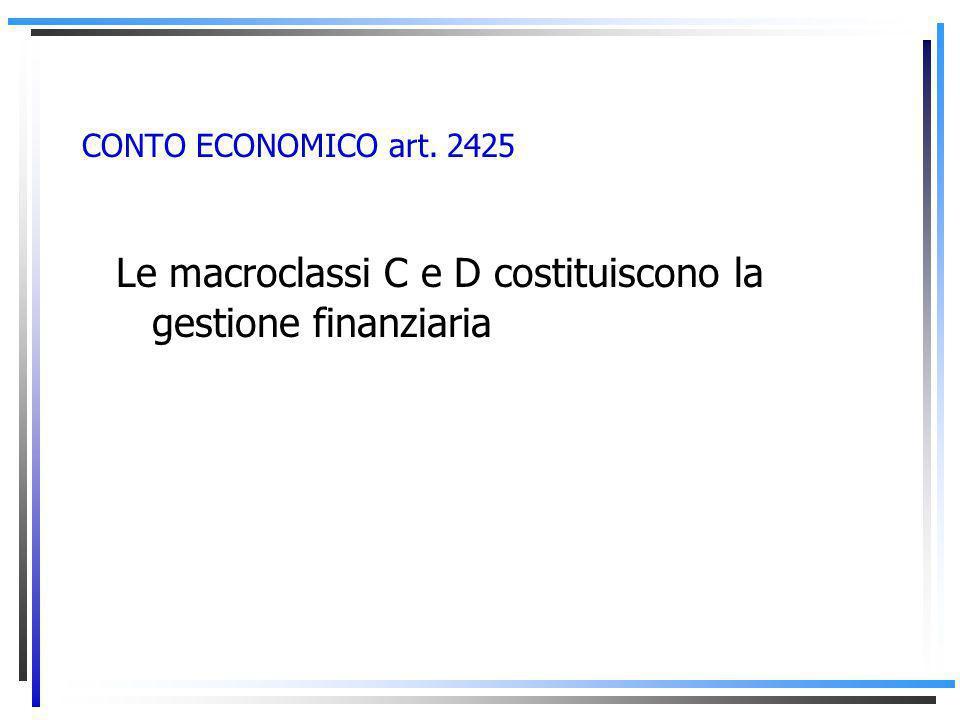 CONTO ECONOMICO art. 2425 Le macroclassi C e D costituiscono la gestione finanziaria
