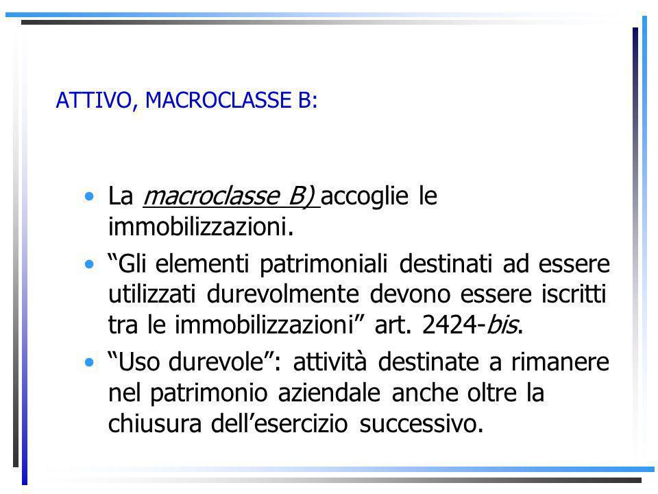 ATTIVO, MACROCLASSE B: La macroclasse B) accoglie le immobilizzazioni.