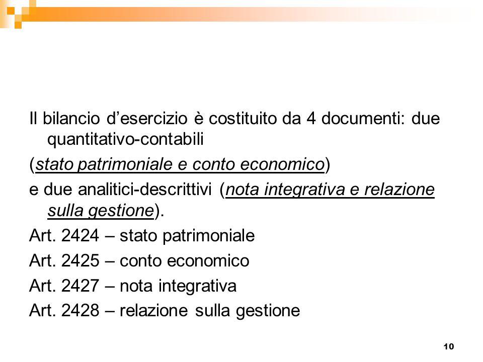 10 Il bilancio d'esercizio è costituito da 4 documenti: due quantitativo-contabili (stato patrimoniale e conto economico) e due analitici-descrittivi