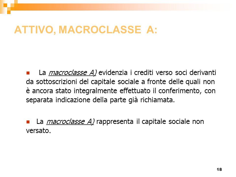 18 ATTIVO, MACROCLASSE A: La macroclasse A) evidenzia i crediti verso soci derivanti da sottoscrizioni del capitale sociale a fronte delle quali non è