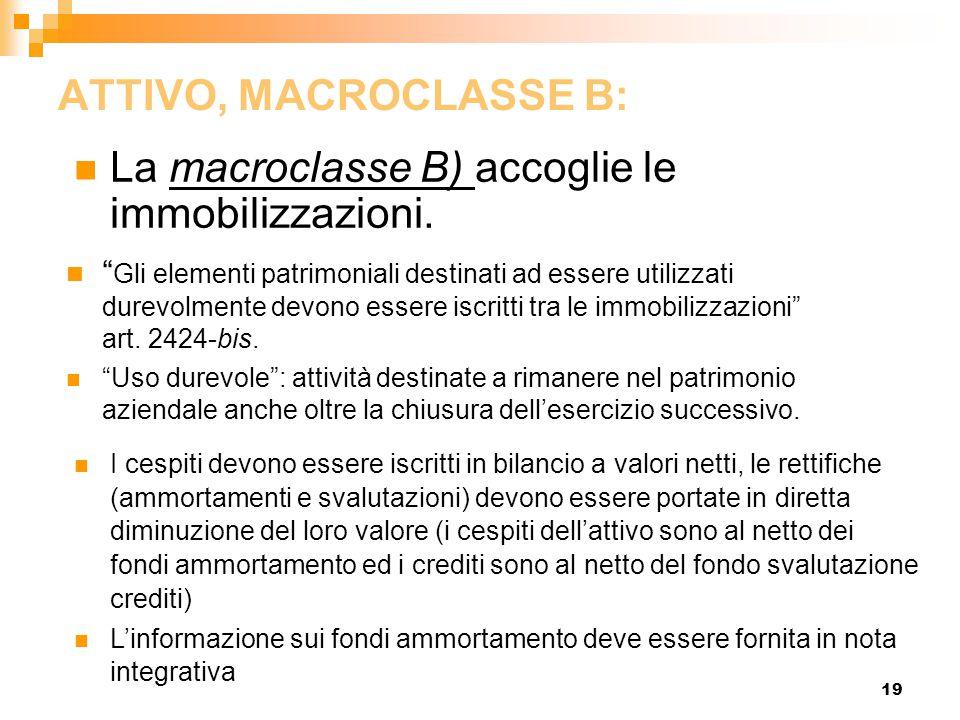 """19 ATTIVO, MACROCLASSE B: La macroclasse B) accoglie le immobilizzazioni. """" Gli elementi patrimoniali destinati ad essere utilizzati durevolmente devo"""
