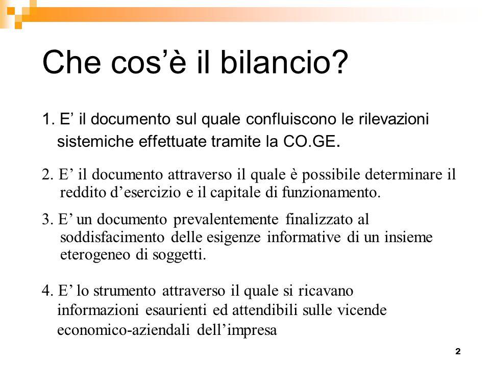 2 Che cos'è il bilancio? 1. E' il documento sul quale confluiscono le rilevazioni sistemiche effettuate tramite la CO.GE. 2. E' il documento attravers