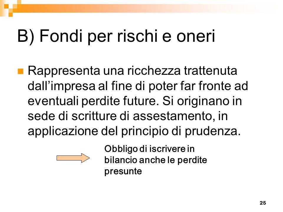 25 B) Fondi per rischi e oneri Rappresenta una ricchezza trattenuta dall'impresa al fine di poter far fronte ad eventuali perdite future. Si originano
