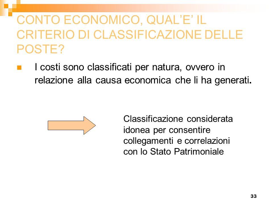 33 CONTO ECONOMICO, QUAL'E' IL CRITERIO DI CLASSIFICAZIONE DELLE POSTE? I costi sono classificati per natura, ovvero in relazione alla causa economica