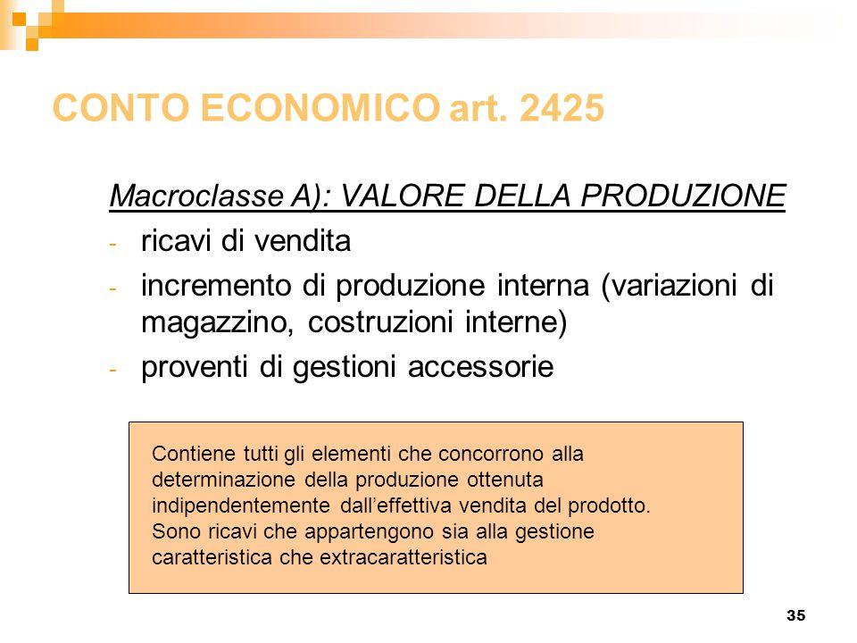35 CONTO ECONOMICO art. 2425 Macroclasse A): VALORE DELLA PRODUZIONE - ricavi di vendita - incremento di produzione interna (variazioni di magazzino,