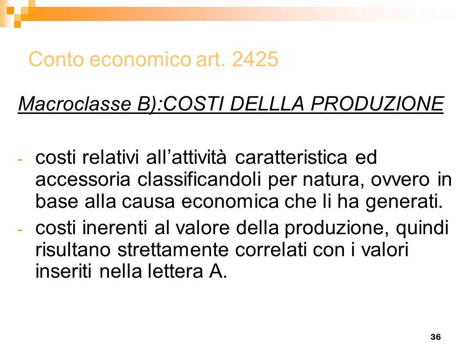 36 Conto economico art. 2425 Macroclasse B):COSTI DELLLA PRODUZIONE - costi relativi all'attività caratteristica ed accessoria classificandoli per nat