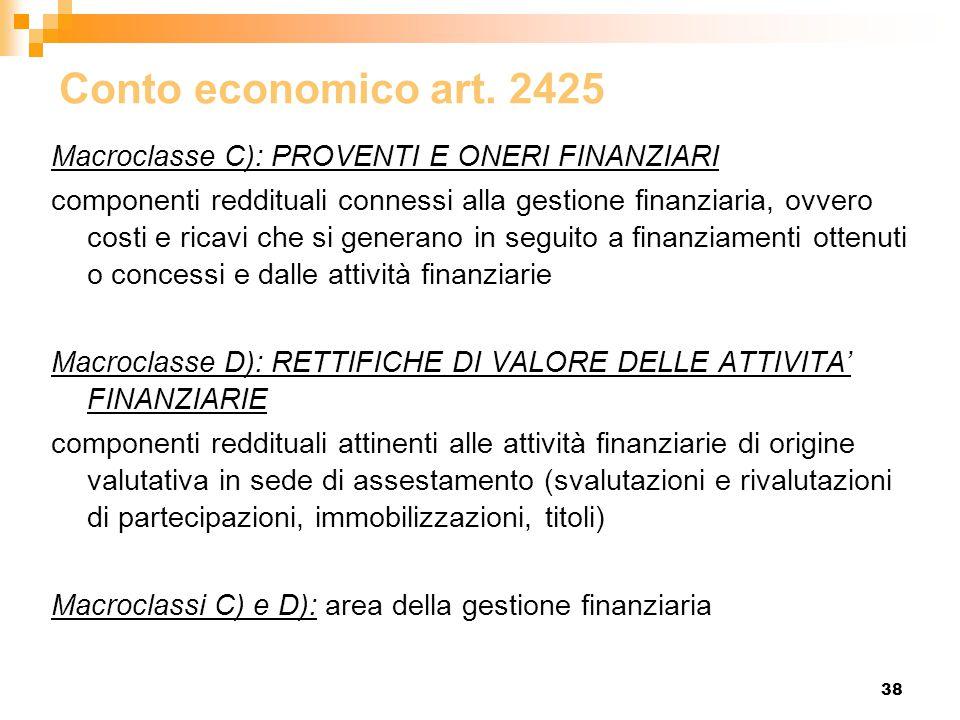 38 Conto economico art. 2425 Macroclasse C): PROVENTI E ONERI FINANZIARI componenti reddituali connessi alla gestione finanziaria, ovvero costi e rica