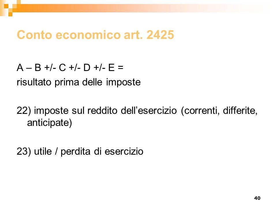 40 Conto economico art. 2425 A – B +/- C +/- D +/- E = risultato prima delle imposte 22) imposte sul reddito dell'esercizio (correnti, differite, anti