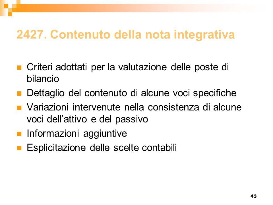 43 2427. Contenuto della nota integrativa Criteri adottati per la valutazione delle poste di bilancio Dettaglio del contenuto di alcune voci specifich