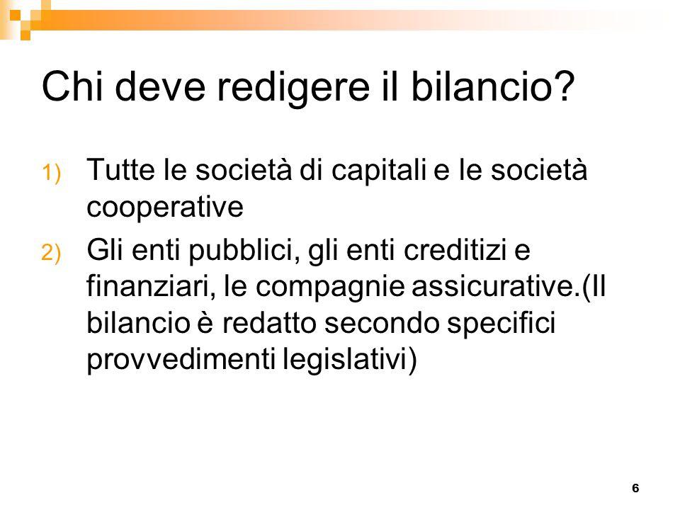 6 Chi deve redigere il bilancio? 1) Tutte le società di capitali e le società cooperative 2) Gli enti pubblici, gli enti creditizi e finanziari, le co