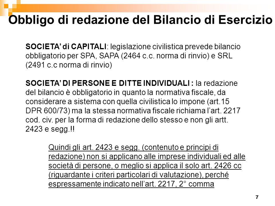 7 Obbligo di redazione del Bilancio di Esercizio SOCIETA' di CAPITALI: legislazione civilistica prevede bilancio obbligatorio per SPA, SAPA (2464 c.c.