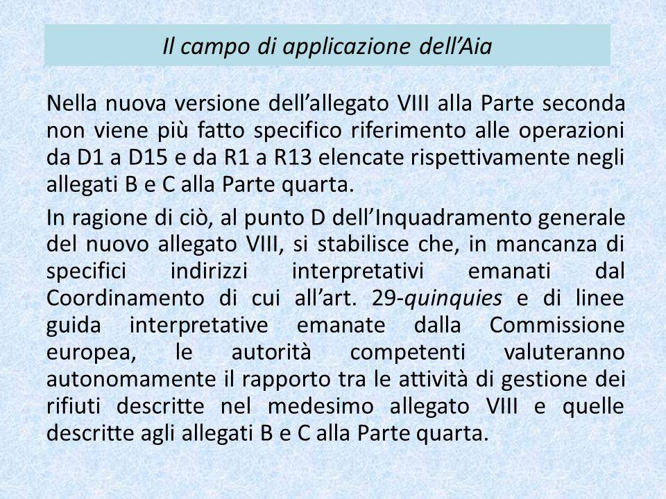 Il campo di applicazione dell'Aia Nella nuova versione dell'allegato VIII alla Parte seconda non viene più fatto specifico riferimento alle operazioni da D1 a D15 e da R1 a R13 elencate rispettivamente negli allegati B e C alla Parte quarta.