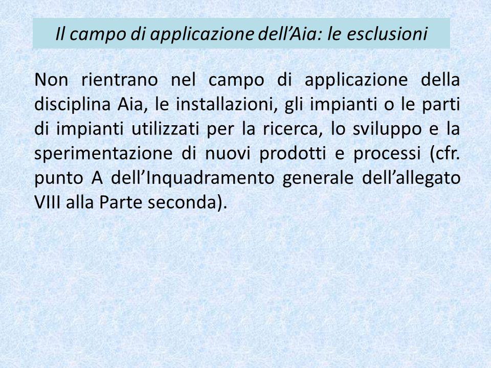 Il campo di applicazione dell'Aia: le esclusioni Non rientrano nel campo di applicazione della disciplina Aia, le installazioni, gli impianti o le par