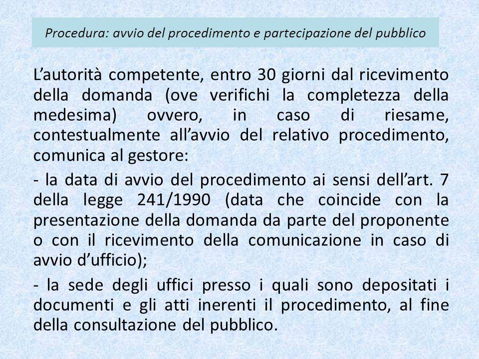 Procedura: avvio del procedimento e partecipazione del pubblico L'autorità competente, entro 30 giorni dal ricevimento della domanda (ove verifichi la