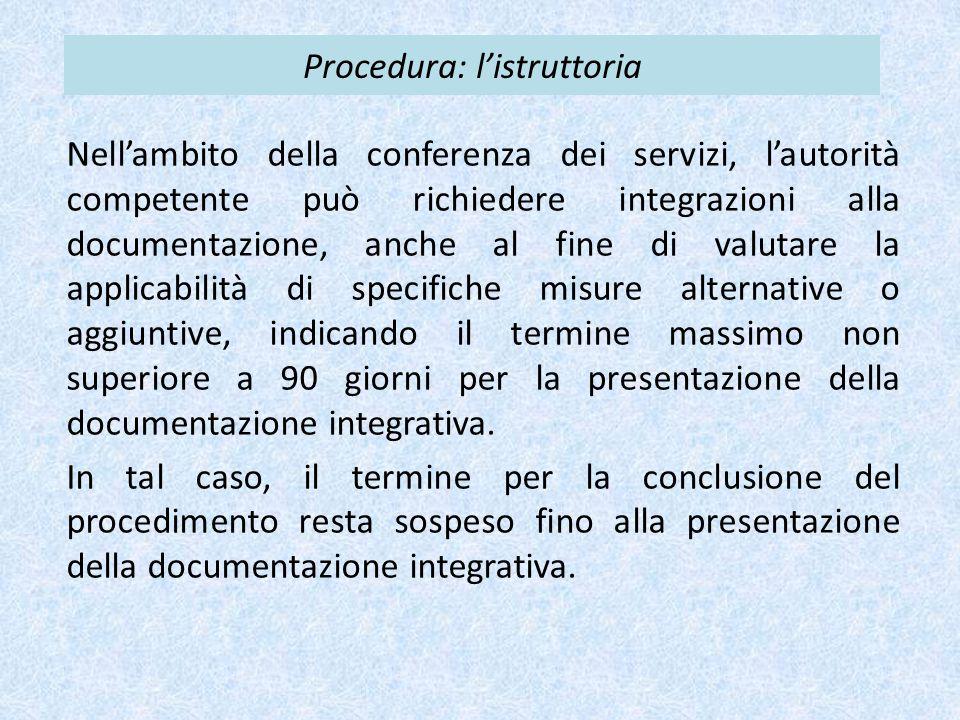 Procedura: l'istruttoria Nell'ambito della conferenza dei servizi, l'autorità competente può richiedere integrazioni alla documentazione, anche al fin