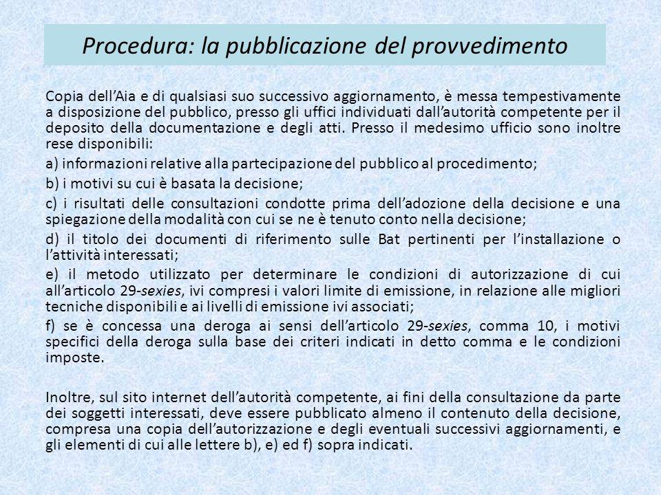 Procedura: la pubblicazione del provvedimento Copia dell'Aia e di qualsiasi suo successivo aggiornamento, è messa tempestivamente a disposizione del pubblico, presso gli uffici individuati dall'autorità competente per il deposito della documentazione e degli atti.