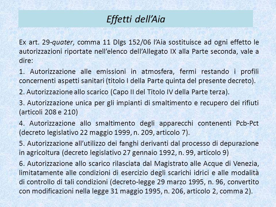 Effetti dell'Aia Ex art. 29-quater, comma 11 Dlgs 152/06 l'Aia sostituisce ad ogni effetto le autorizzazioni riportate nell'elenco dell'Allegato IX al