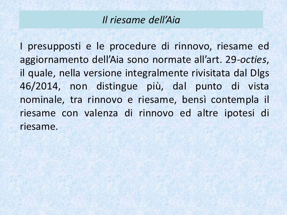 Il riesame dell'Aia I presupposti e le procedure di rinnovo, riesame ed aggiornamento dell'Aia sono normate all'art. 29-octies, il quale, nella versio