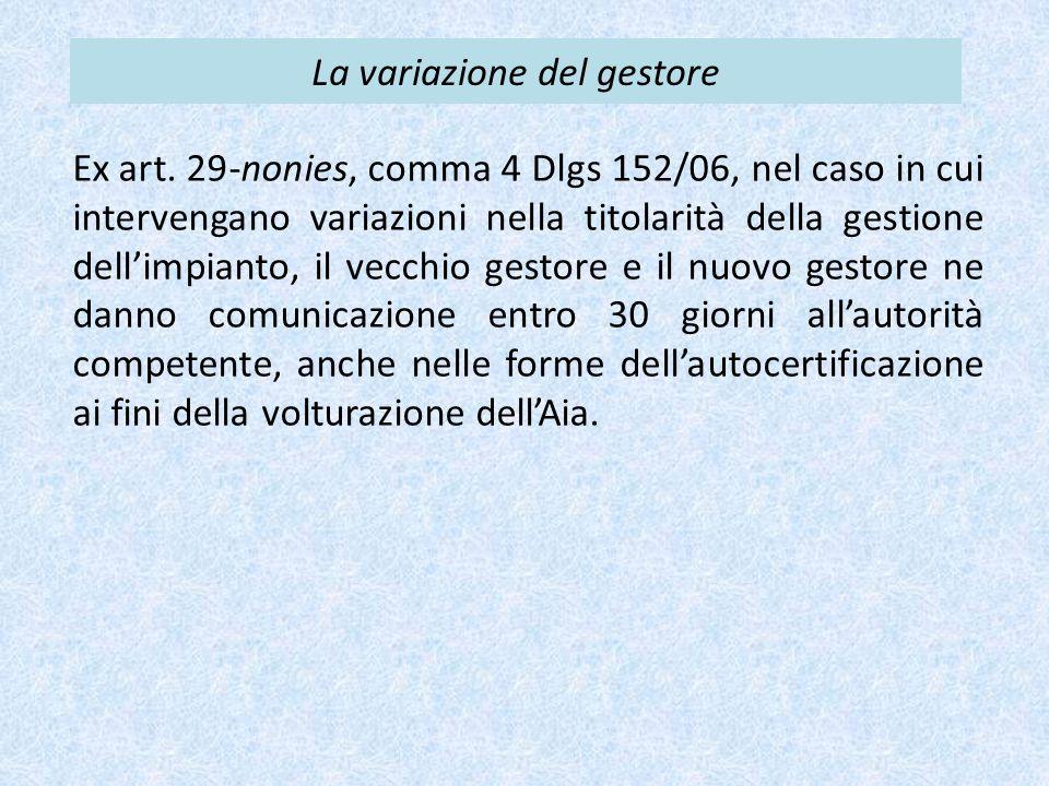 La variazione del gestore Ex art. 29-nonies, comma 4 Dlgs 152/06, nel caso in cui intervengano variazioni nella titolarità della gestione dell'impiant