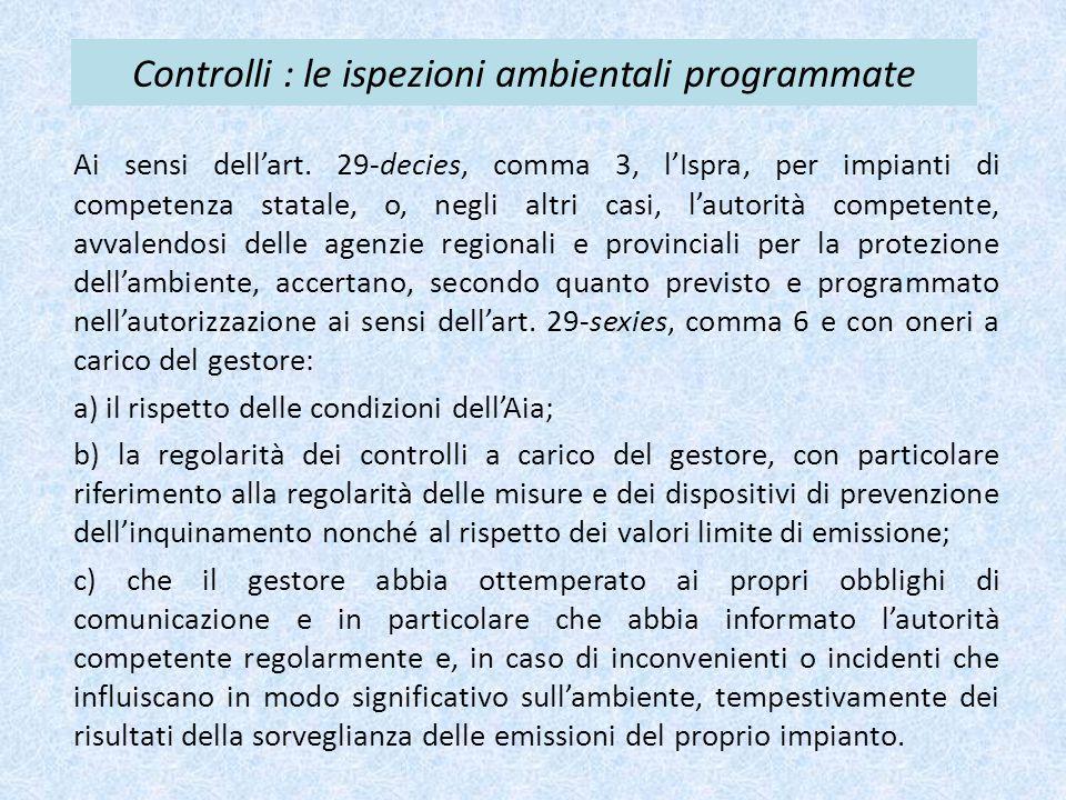 Controlli : le ispezioni ambientali programmate Ai sensi dell'art. 29-decies, comma 3, l'Ispra, per impianti di competenza statale, o, negli altri cas